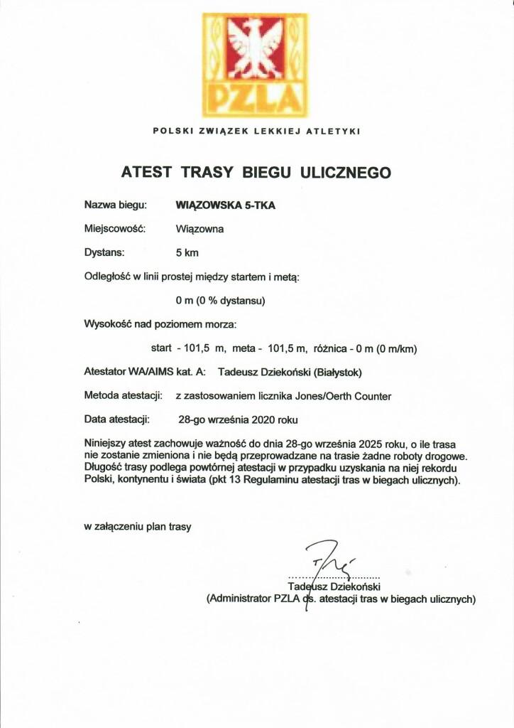 Trasa Wiązowskiej 5-tki uzyskała atest PZL