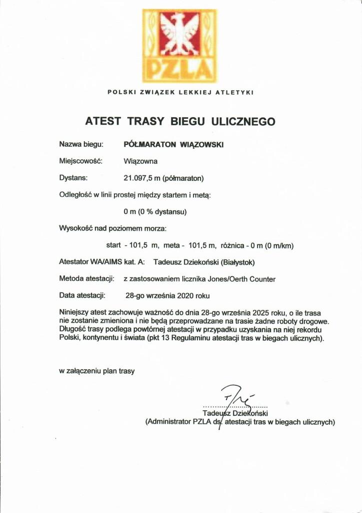 Trasa Półmaratonu Wiązowskiego uzyskała atest PZL